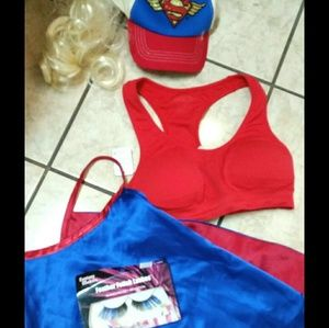 Supergirl costume parts & choice of lashes or bra